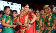 Vidya Balan posing with lavani dancers at the launch of lavani song Mala Jau De from FERRARI KI SAWAARI at Rangsharda Auditorium in Mumbai Image