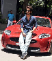 Shahid Kapoor posing with his new car at the IIFA awards 2012 press meet Photo