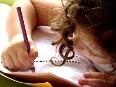 smart girl writing