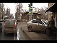 car crashes into bus-stop video videos