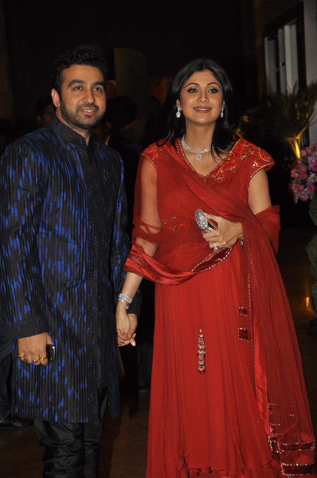 Shilpa Shetty With Husband Raj Kundra At Wedding Sangeet Ceremony Of Dheeraj Deshmukh And Honey Bhagnani Grand Hyatt In Mumb