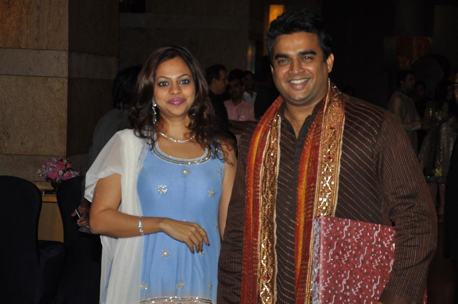 madhavan with wife sarita at wedding sangeet ceremony of