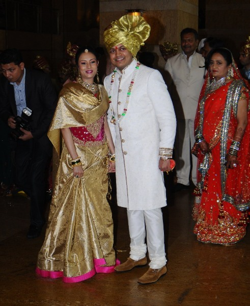 Elder brother of Ritesh Deshmukh Amit Deshmukh with his wife Aditi Pratap at the wedding ceremony of brother Dheeraj Deshmukh and Honey Bhagnani in Mumbai