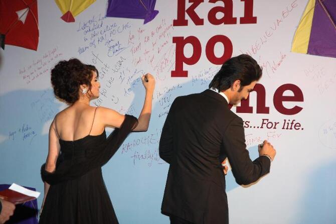 Actor Sushant Singh Rajput with girlfriend Ankita Lokhande at film KAI PO CHE premiere at Cinemax in Mumbai  3