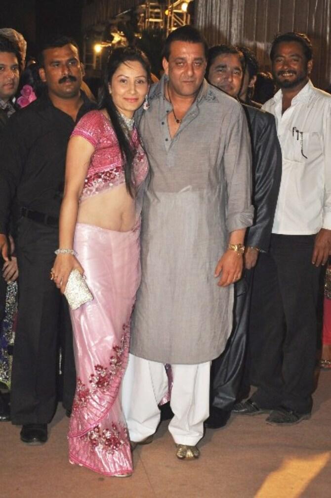 Sanjay Dutt with wife Manyata Dutt at the wedding ...