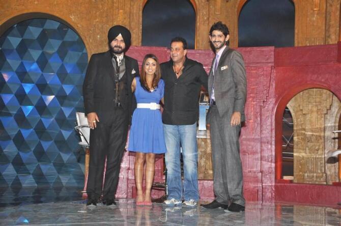 Sanjay Dutt with Navjot Singh Sidhu Isa Guha Gaurav Kapoor on the sets of IPL Extraa Innings T20 at RK Studios in Mumbai  1