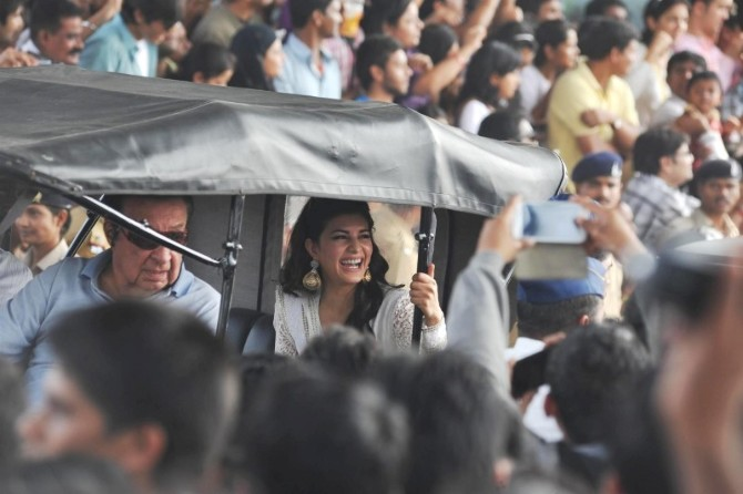 Jacqueline Fernandez at the car rally during the 65th Republic Day ...