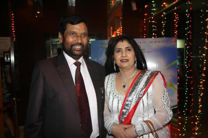 Ram Vilas Paswan with wife Reena Paswan
