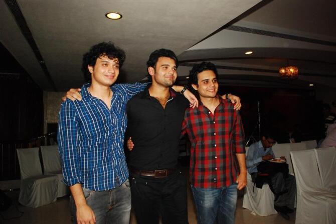 Mithun Chakraborty  s three sons Rimoh  Mahakshay and Namashi Chakraborty at the music launch of film ENEMMY in Mumbai