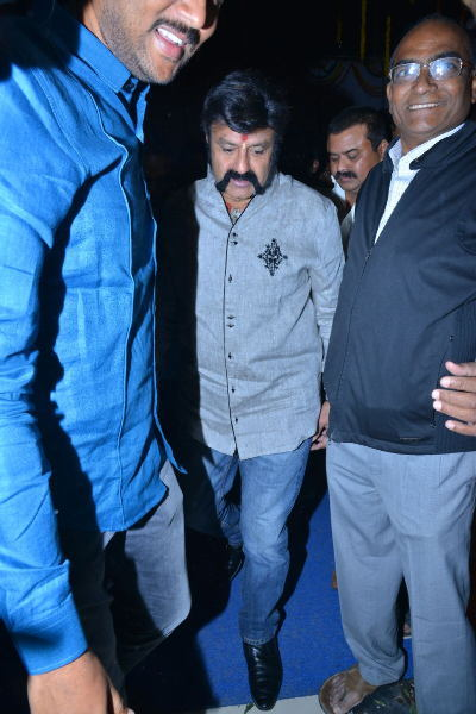 Balakrishna   other crew members watched GPSK at Bhramarambha Theatre  26