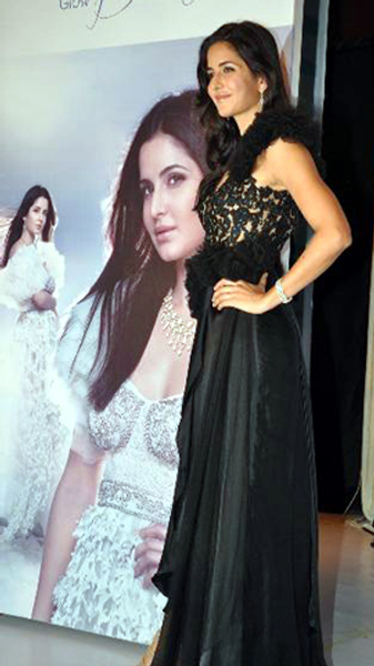 Katrina Kaif posing at the unveiling of the new logo brand campaign GLOW DIVINE for Nakshatra Diamonds in Mumbai Pic