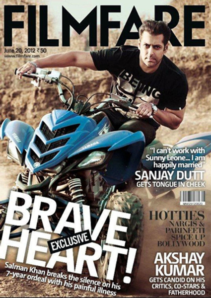 Salman Khan Filmfare June 2012 Magazine Cover Page Photo