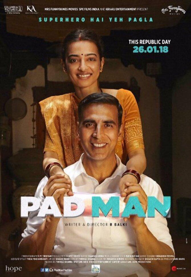 Radhika Apte   Akshay Kumar Padman Movie Poster
