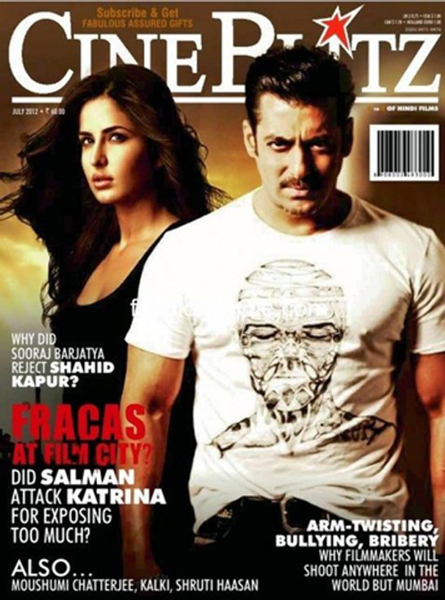 The Ek Tha Tiger lead pair of Salman Khan and Katrina Kaif grace the cover of Cine Blitz magazine